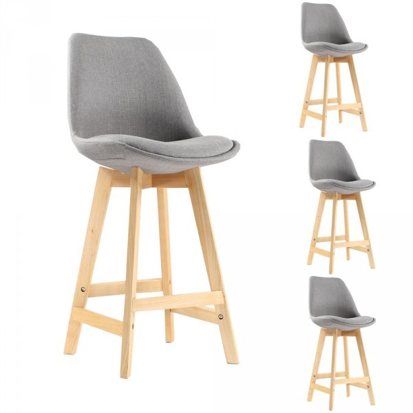 Lot de 4 Tabourets de Bar Scandinave Gris Oslo