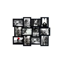 Mobili Rebecca - Cadre Photo Collage Mural Rectangle 12 Imagerie Bois Noir Vintage Retro Design