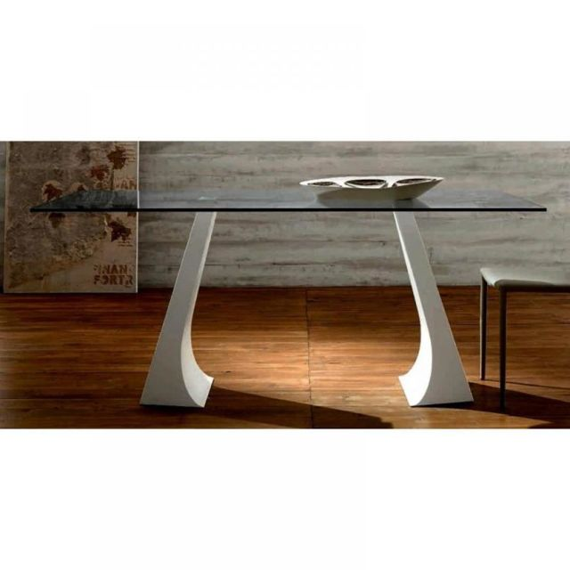 Inside 75 Arcade Table repas plateau en verre, piétement en métal blanc
