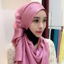 Echarpe or et rose Mode Soie Coton Femme Long Foulard Hui Nationalité Style  Folk Hijab Musulman 4b599e0cf0a