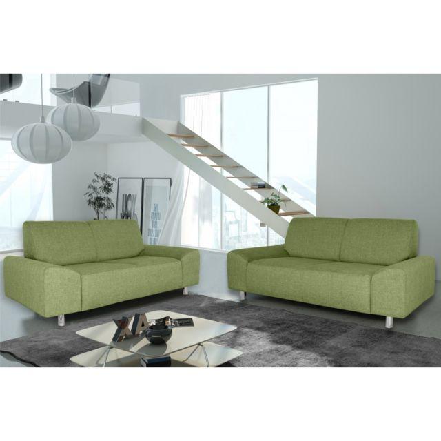 Rocambolesk Canapé Quick 3+2 savana 08 vert+pieds chrom sofa divan
