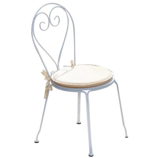 Chaise jardin en fer forgé coloris blanc Dim : H 90 x L 42 x P 52 cm. A USAGE PROFESSIONNEL