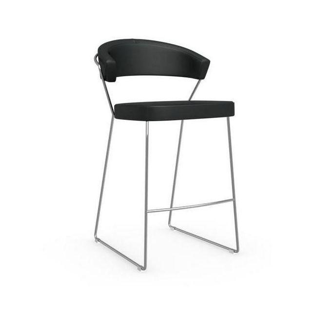 Inside 75 Chaise de bar New York design italienne structure acier chromé assise cuir noir