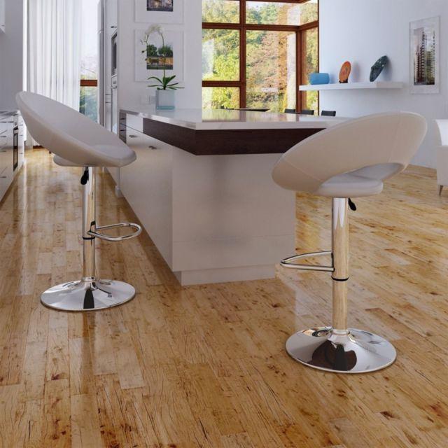 Vida Lot de 2 tabourets blanc design moderne
