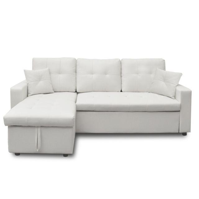 Canapé d'angle convertible Cuero Blanc