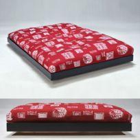 No Name - Lit Loft 140x200 + 1 sommier + 1 matelas futon rouge / Noir