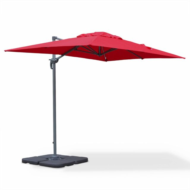 alice 39 s garden parasol d port rectangulaire 2x3m biscarosse rouge parasol excentr. Black Bedroom Furniture Sets. Home Design Ideas