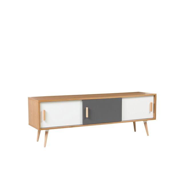 BELIANI Meuble TV en bois clair INDIANA - blanc