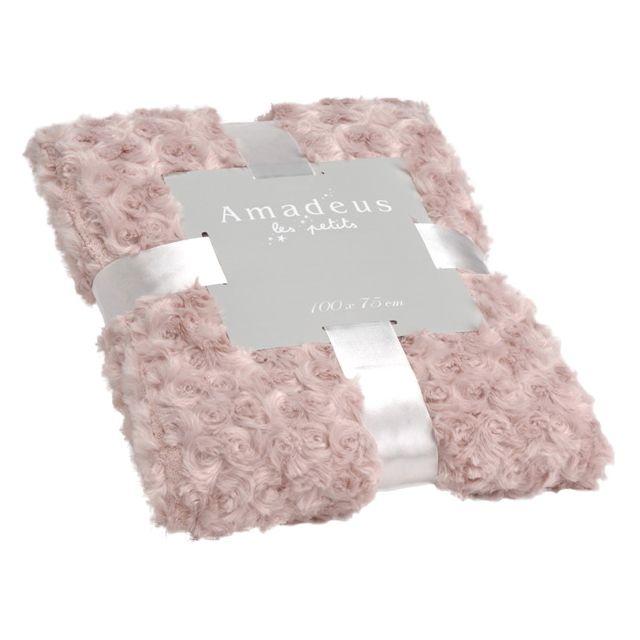 AMADEUS LES PETITS - Plaid enfant en polyester Petites Roses Rose clair - 75cm x 100cm