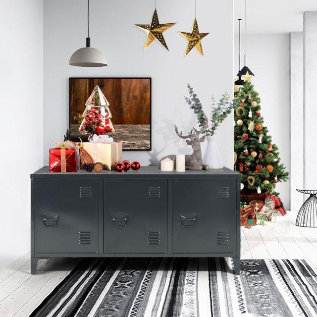 Meuble Express Meuble bas cabinet métal noir