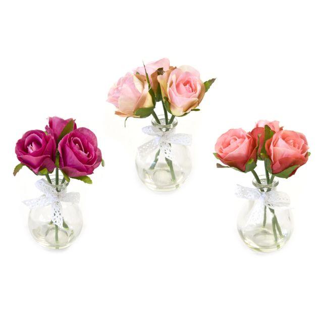 Visiodirect 12 Roses en pot verre 3 coloris assortis - 15 x 8 cm