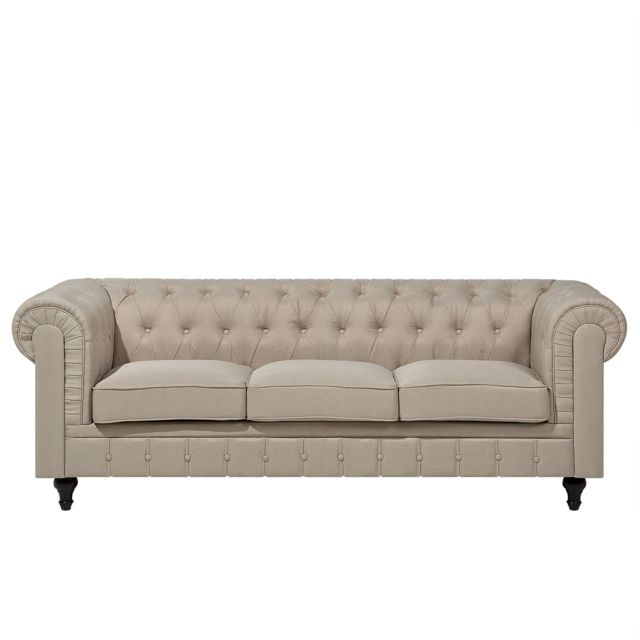 Beliani Canapé 3 places en tissu beige Chesterfield Big