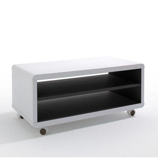Inside 75 Meuble Tv Compact Jersey Pm Laque Blanc Mat à Roulettes