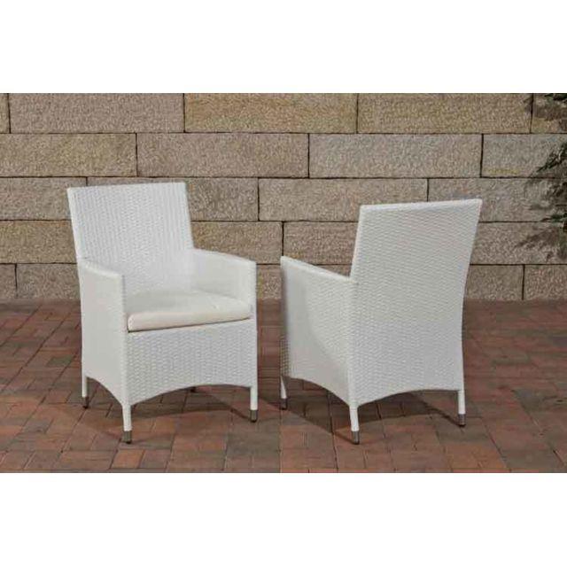 Splendide chaise de jardin rotin, de salon Bagdad/Avignon/Tropea/Florenz creme blanc