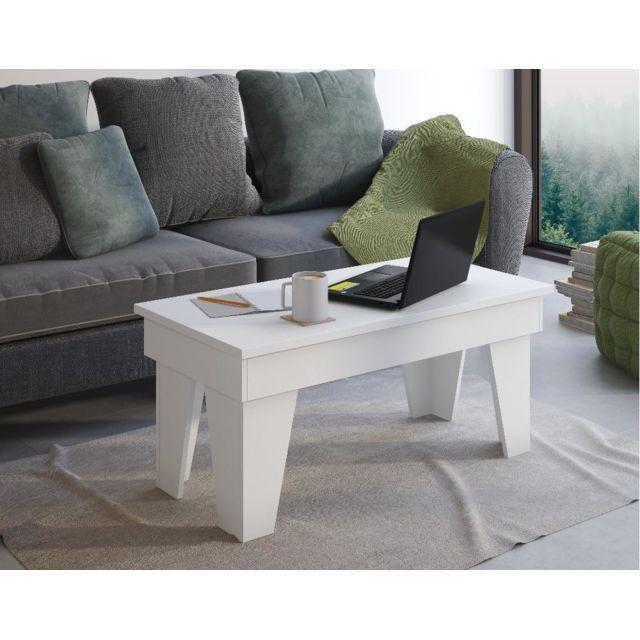 Comfort Table basse relevable, Kl, blanc mat