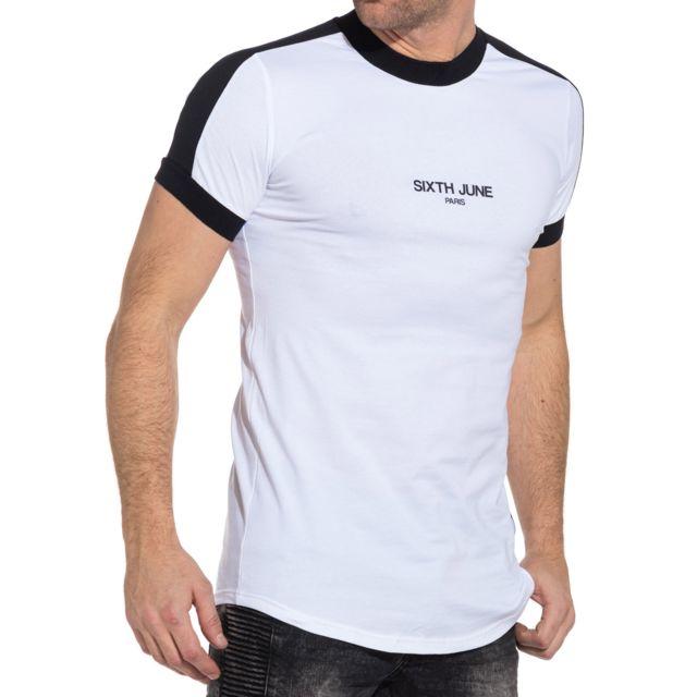 Sixth June - Tee-shirt homme blanc logo et bandes noires - pas cher ... fc8f20d8d1c