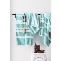 Finlandek - Bain - Finlandek Set de 2 Draps de douche 70x140 cm + 1 Serviette 50x100 cm Kylpy rayures vert menthe et blanc