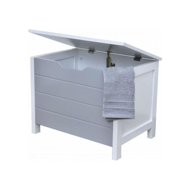 Tendance - Meuble bas coffre de rangement salle de bain gris et ...
