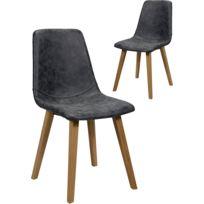 COMFORIUM - Lot de 2 chaises noir vintage en pu avec piètement en bois massif