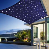 Morel - Voile d'ombrage ciel étoile rectangulaire solaire led 3x2m toile 180 g/m² éclairage fixe ou animé