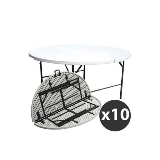 Mobeventpro Tables rondes pliantes 180cm - Lot de 10