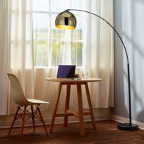 VERSANORA - Arquer lampadaire arc lampe de sol abat-jour doré pied en marbre noir
