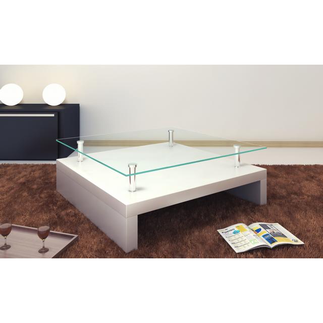 Rocambolesk Superbe Table basse de salon carrée verre blanc laqué Neuf