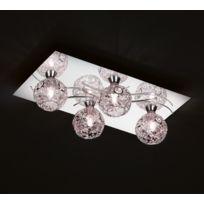 Trio-Leuchten - Plafonnier 40 Cm, 4 ampoules, en chrome et maillage fil de fer
