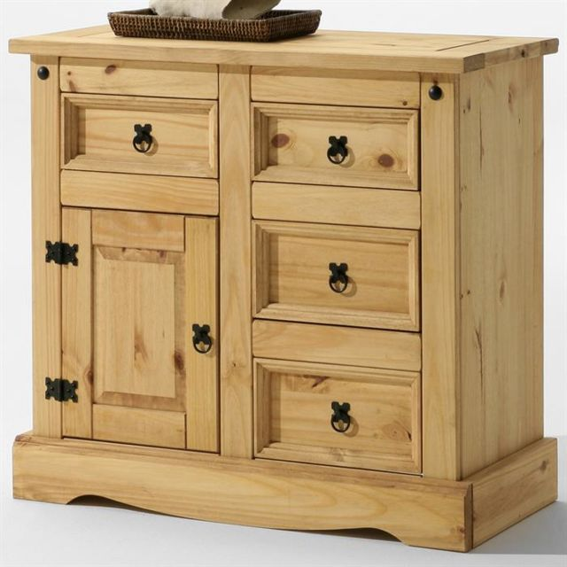 IDIMEX Buffet commode apothicaire style mexicain pin fintion cirée