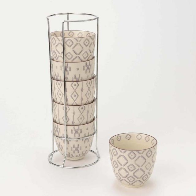 Amadeus Ensemble de 6 tasses à café D.11cm crème et prune Atlas