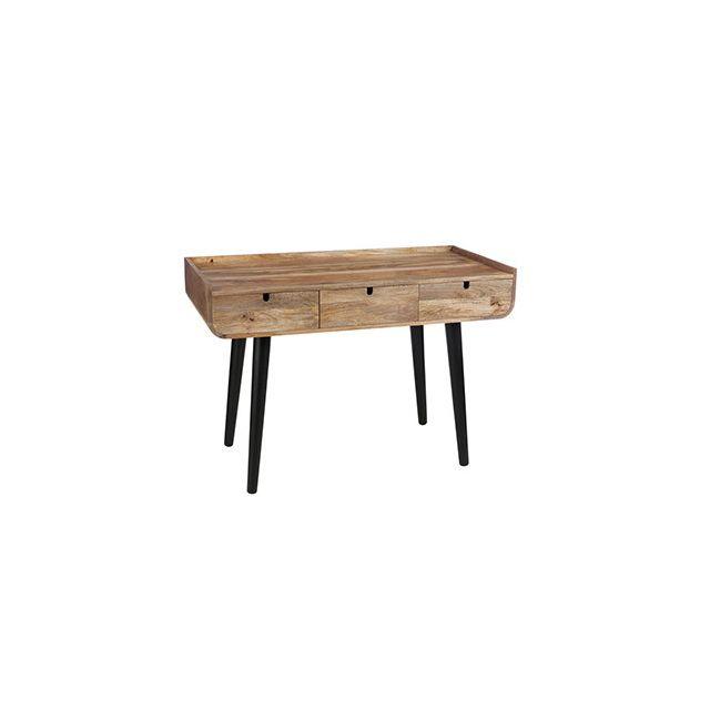 Bureau 3 tiroirs 120x60x80cm en bois naturel