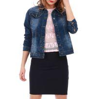 Lamodeuse - Veste en jean bleue coupe droite