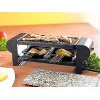 Rosenstein & SÖHNE - Mini-raclette ''Duo'' avec gril et pierre à cuisson - noir