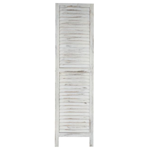 Mendler - Paravent / s?paration bois, 5 pans, 228x2x170cm, shabby, vintage, blanc 2cm x 170cm