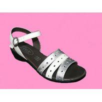 Semelflex - Sandales femme chaussures été femme Cuir blanc/argent pointure 41
