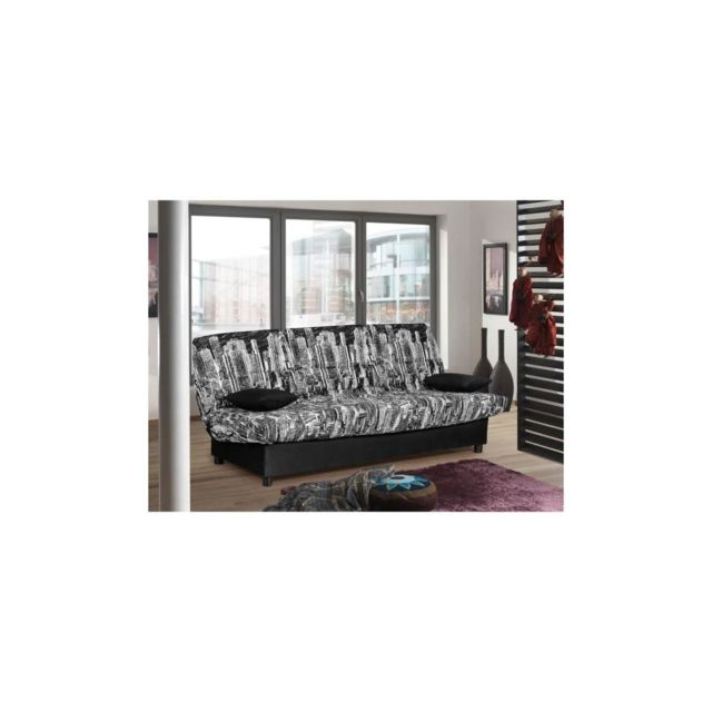 Sans Marque Staro Banquette clic-clac 3 places - Tissu noir Manhattan - Style contemporain - L185 x P 88 cm