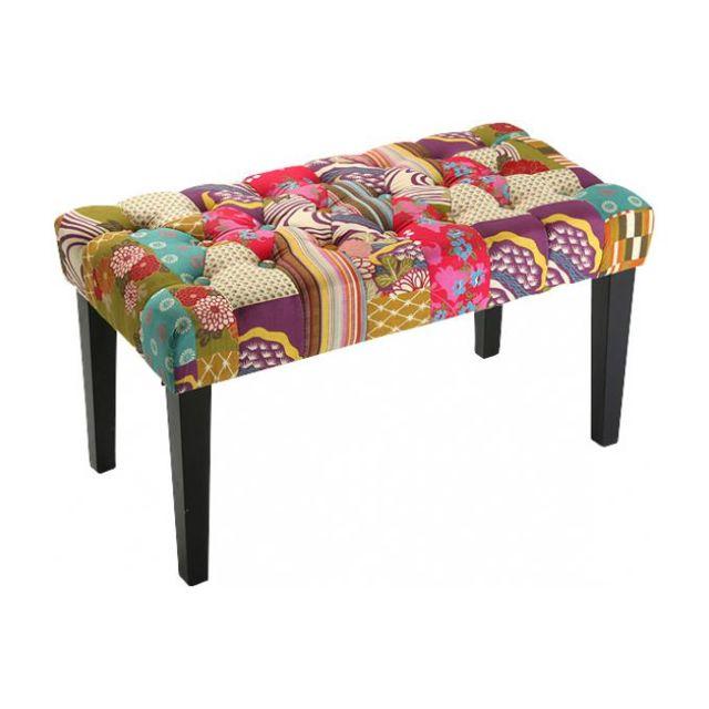 Declikdeco Banquette patchwork multicolore en coton Rosa