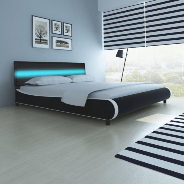 Sans Marque Lit de 180 cm avec cadre Led en cuir d ameublement synthétique  Noir c93deaf2abf