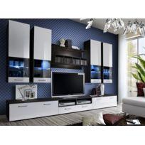 Asm-mdlt - Ensemble meuble Tv Dorade en wengé et blanc de haute brillance avec Led