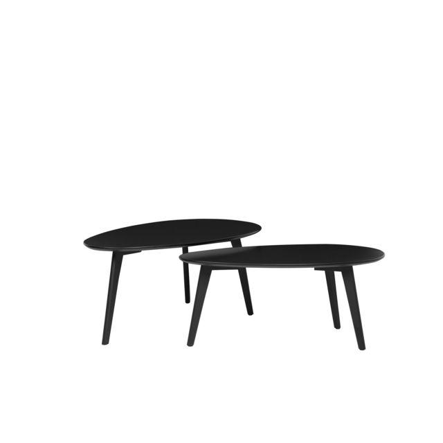 BELIANI Lot de 2 tables basses noires FLY II - noir