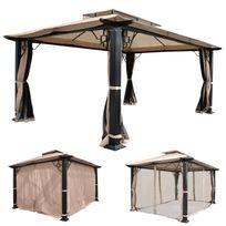 Mendler - Pergola Mira, pavillon de jardin, cadre stable à 12cm avec paroi et moustiquaire ~ 4,5x3,5m