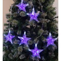 No Name - Rideau de 6 étoiles 60 Led - Bicolore Bleu/Blanc - Intérieur ou extérieur Ip44 - Clignotante - Noël