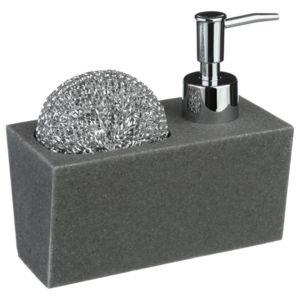 paris prix distributeur de savon et porte ponge gris pas cher achat vente egouttoir. Black Bedroom Furniture Sets. Home Design Ideas