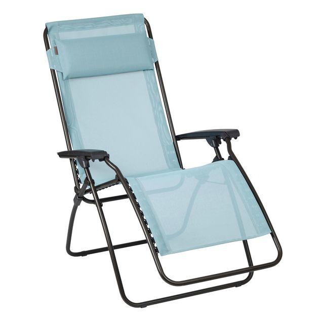 Lafuma - Chaise longue relax pliante multiposition en acier et toile ...