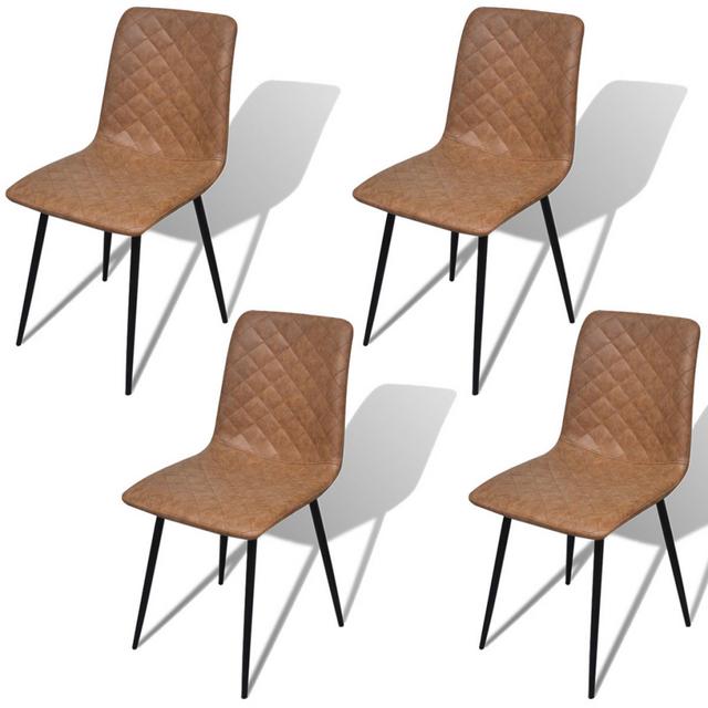 Vidaxl Chaises 4 pcs en cuir artificiel Marron