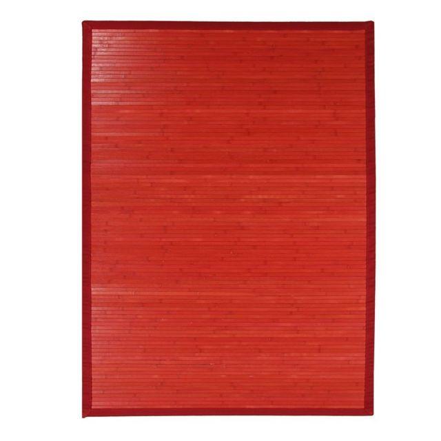 Mon Beau Tapis Tapis En Bambou Larges Lattes Et Ganse Rouge 300x200cm Solo Bamboo Pas Cher