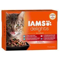 Iams - Delights multibox Saveurs de la Mer en sauce Sea Collection Toutes Races - 12x85 g - Pour chat adulte
