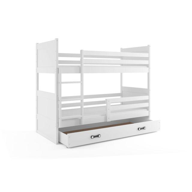 Interbeds Lit superposé rico 160x80 avec matelas sommiers et tiroir en blanc+blanc
