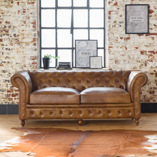 Made In Meubles Canapé Chesterfield marron 3 places  Ku04