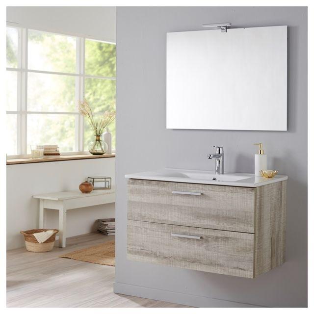Planetebain soldes meuble de salle de bain mall 80 cm couleur bois blanchi gris coral ch ne - Meuble salle de bain 80 cm pas cher ...